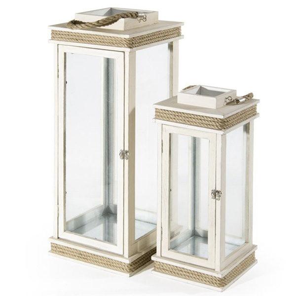 lanterna bianca, lanterne, lanterna in legno e corda, lanterna etnica, Rota Commerciale Bergamo, arredo giardino