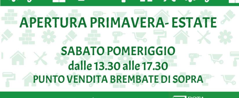 APERTURA SABATO POMERIGGIO BREMBATE DI SOPRA